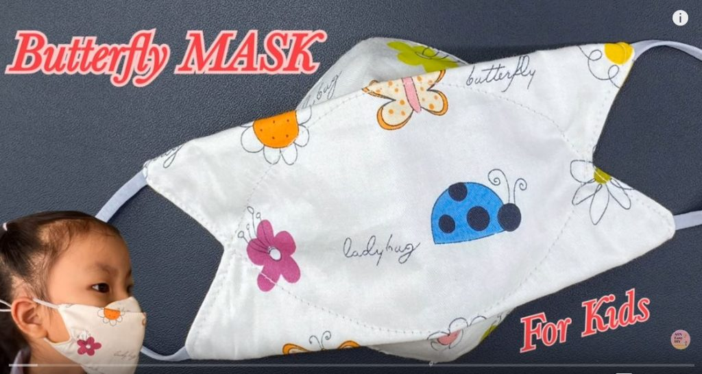 Butterfly Face Mask for Kids 3 Layers